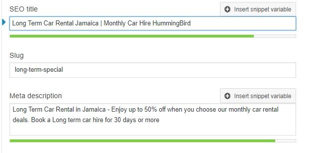 Hummingbird car rental long term car rental page optimization